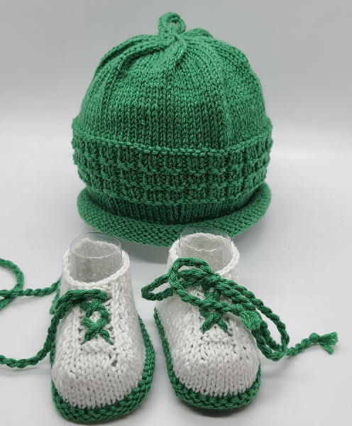 Green Baby Hat and White Booties