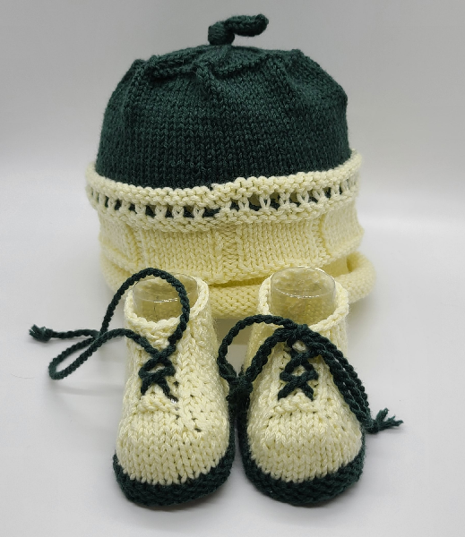 Green and Yellow Baby Hat and Booties