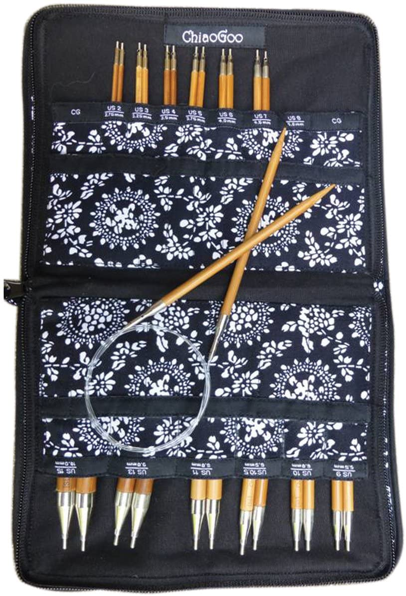 CHIAOGOO Bamboo Spin Interchangeable Knitting Needle Set, Complete