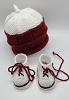Maroon and White Baby Hat and Booties