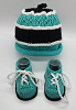 Teal and Black Baby Hat and Booties