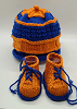 Orange and Blue Baby Hat and Booties