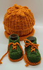 Orange and Green Baby Hat and Booties
