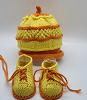 Orange and Yellow Baby Hat and Booties