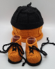 Orange and Black Baby Hat and Booties