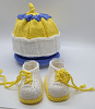 Periwinkle, White and Yellow Baby Hat and Booties