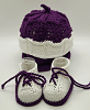 Purple and White Baby Hat and Booties