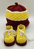 Maroon, White and Yellow Baby Hat and Booties