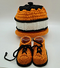 Orange, White and Black Baby Hat and Booties