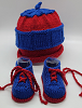 Red and Blue Baby Hat and Booties