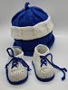 White and Blue Baby Hat and Booties