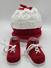 Red and White Baby Hat and Booties