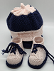 Pink and Blue Baby Hat and Booties
