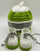 Lime, Grey and White Baby Hat and Booties