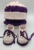 Purple and Pink Baby Hat and Booties