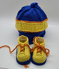 Blue, Yellow and Orange Baby Hat and Booties