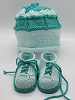 Mint and Teal Baby Hat and Booties