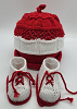 White and Red Baby Hat and Booties