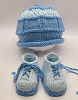 Blue and Light Blue Baby Hat and Booties